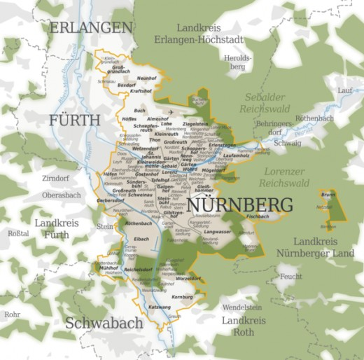 Map of city of Nuremberg, Germany
