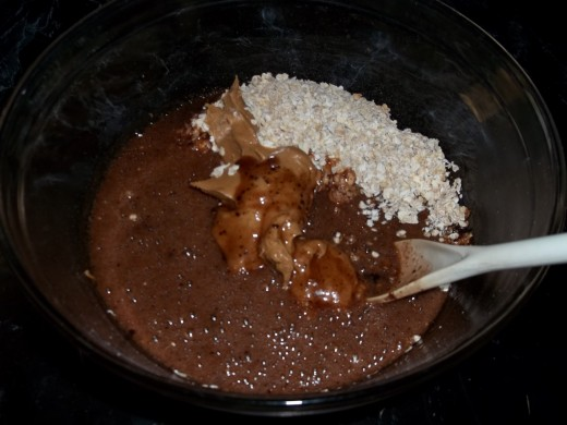 The boiling mix added to the dry ingredients.