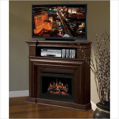 Nutmeg with Glass Ember Bed Dimplex Montgomery Electric Fireplace | image credit: Amazon