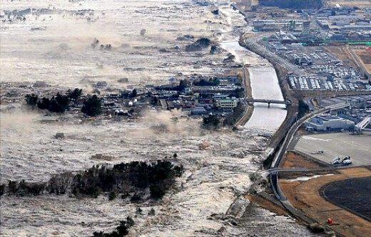 Tsunami waves batter the north east coast of Japan in March 2011