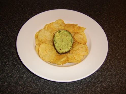 Guacamole served simply as a dip for buffets or cocktail parties
