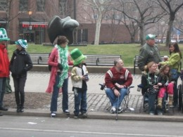 Enjoying a St. Patrick's Day parade in Philadelphia