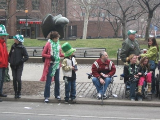 Enjoying a St. Patrick's Day parade in Philadelphia