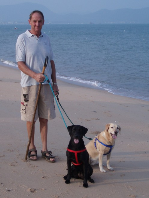 Tessa with her daughter Pip and 'Dad' Derek on our morning walks along the seashore in Thailand