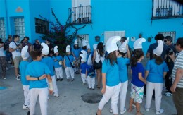 The villagers dressed as Smurfs in Juzcar