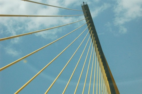 Sunshine Skyway Bridge. I took this one on a trip out to St. Petersburg.  The bridge was just so beautiful all on its own.  It was fun, because pelicans would fly alongside your car. photo by AMB