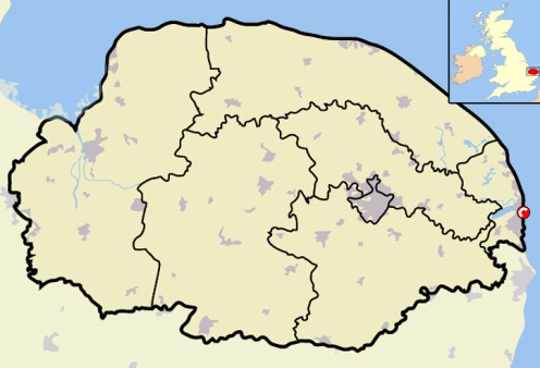 Map location of Great Yarmouth, Norfolk