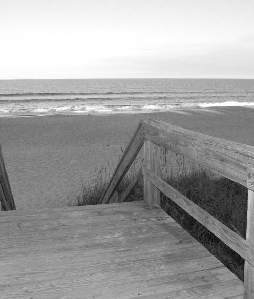 Weathered boardwalk to the beach.  There is such peace to be found staring out at the ocean.  The size of it all, the sounds of the waves, and the beauty of it, it just gives a person a sense of peace.  Everyone should experience it. photo by AMB