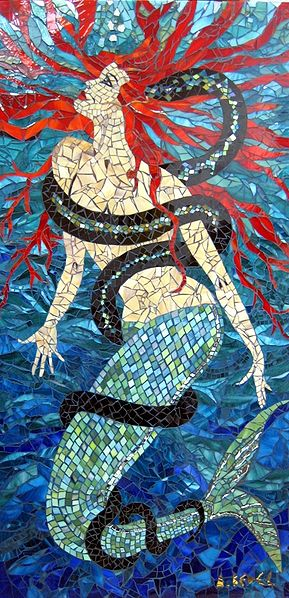 This Tiffany glass mosaïc is a 2008 work by Anne Bedel.