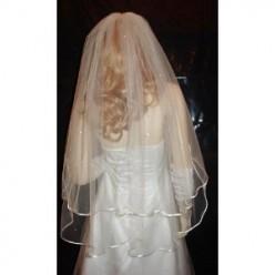 Ivory 2 Tier Fingertip Length Swarovski Crystal Rhinestones Veil Bridal Wedding
