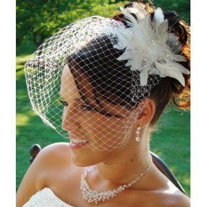 WHITE Birdcage Veil & Flower Feather Fascinator Comb