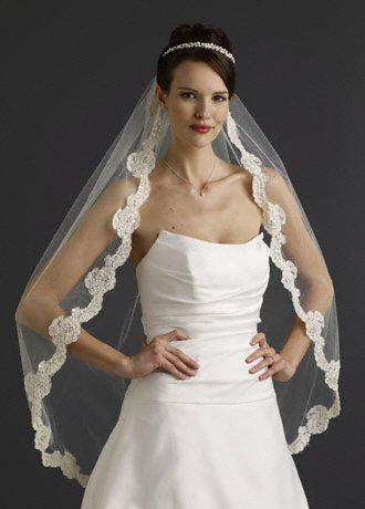 David's Bridal Fingertip Veil with Pearl Embellished Alencon Lace Style VCRL538