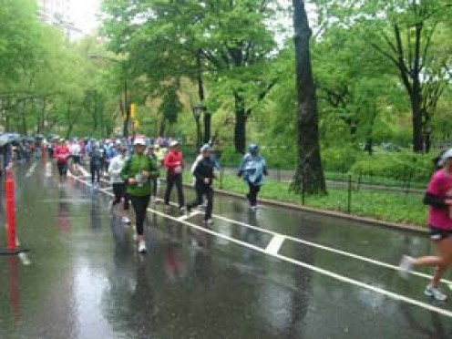 This was during my first half marathon in Central Park.  I just finished the first loop of 6 miles.  It was 37 degrees and steady rain fell throughout the race.