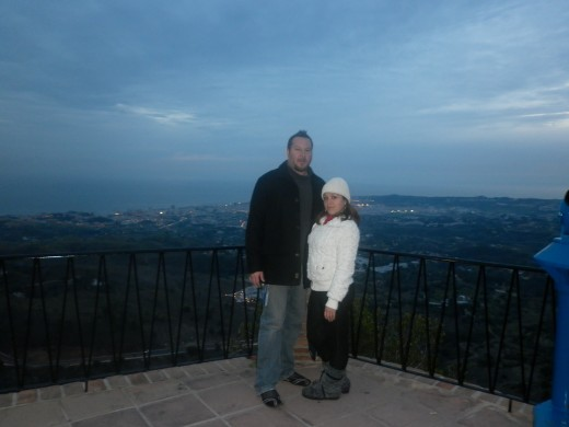 my husband and I in Mijas Pueblo, with beautiful views of the Coast