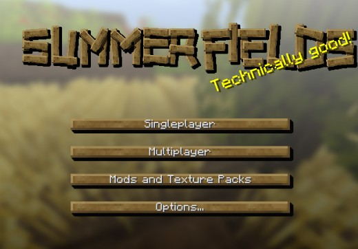 Summerfields, Minecraft 32x HD Texture Pack Main Menu