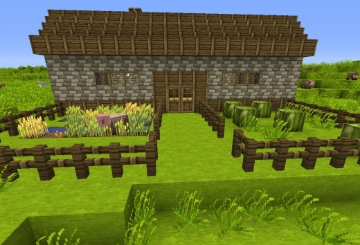 An idyllic little cottage in the Minecraft landscape.