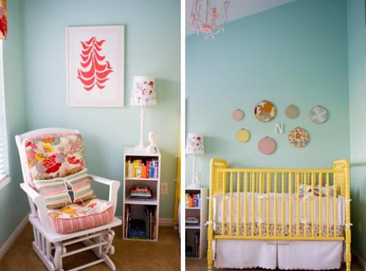 Yellow Repainted Jenny Lind Crib
