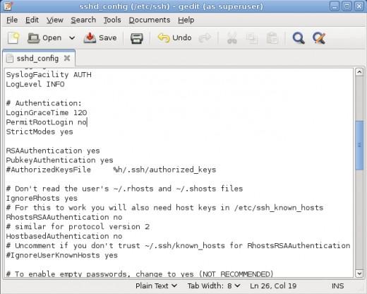 SSH configuration file
