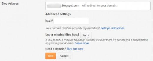 If you already have a domain name, switch to advanced settings