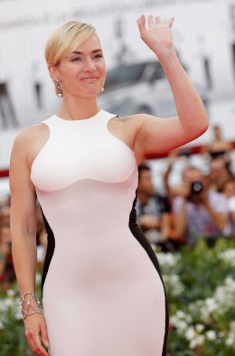 Kate Winslet Flaunts Curves in Stella McCartney Dress during 68th Venice Film Festival at Palazzo del Cinema in Venice, Italy on September 2
