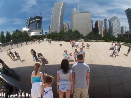 """Visitors to """"The Bean"""" often take photos of their own reflections in the sculpture."""