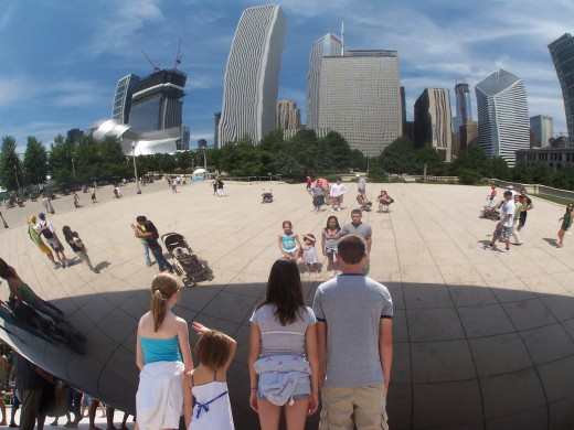 "Visitors to ""The Bean"" often take photos of their own reflections in the sculpture."