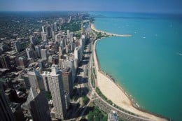 Chicago hugs the shore of Lake Michigan. There are many free beaches in Chicago.
