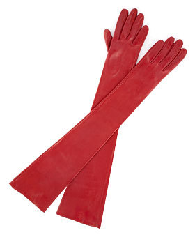 Dramatic opera-length gloves.