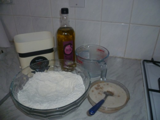 organic self rising flour, olive oil, yeast and water