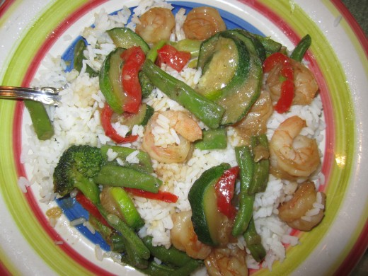 Stir Fry Shrimp and Vegetables over Rice
