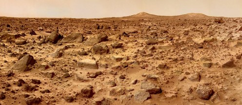 Mars landscape SW of the Mars Pathfinder landing site, July 1997.