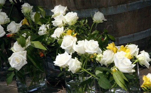 We did white roses and yellow crocuses - very simple to arrange and looked beautiful.