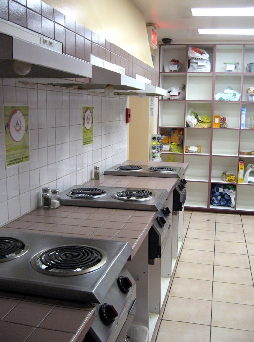 Communal kitchen with 3 stoves.