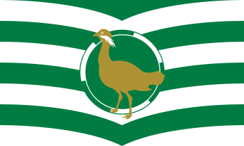 The Great Bustard, formerly of Britain, on the County Flag of Wiltshire, England.