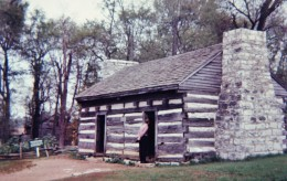 Log cabin house on the grounds of the Hermitage.