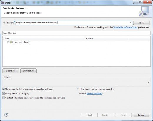 Downloading Android Developer Tools