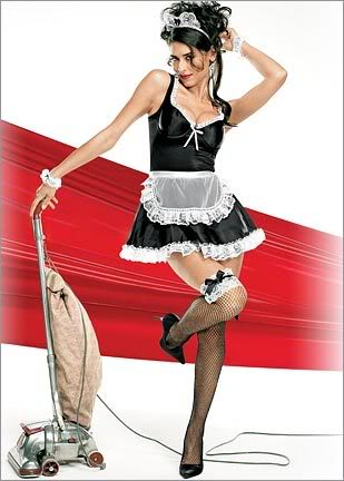 Make him ditch the French Maid with her old upright and buy the Dyson DC35!