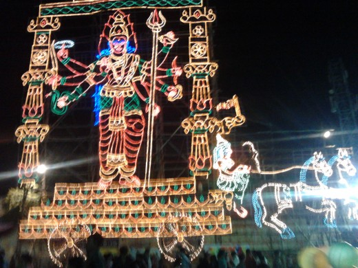 Gods and Goddesses are designed in running lights and erected as buntings at fairs and temple entrances.
