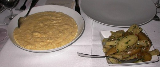 Italian dinner with polenta and artichokes
