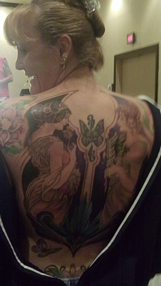 Beth Bagley's back piece by Kurt Elkin of Family First Tattoo was a big hit at the convention.