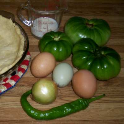 Green Tomato & Egg Quiche Ingredients
