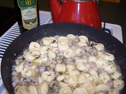 Let the tortellini cook (about 5-10 minutes)