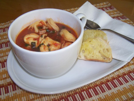 Tortellini soup is great served with a crunchy bread or toasted bread with olive oil and parmesan cheese or seasonings.