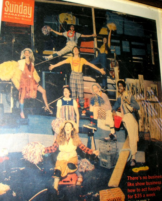 I made the cover of the Globe Democrat Sunday magazine at 19 yrs. old. That's me at the top with the red lei. Center left with the red hair ribbon is my wife.