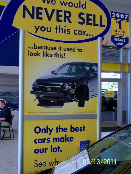We visited CarMax so frequently, I had actually taken this picture to prove a point to the manager. So, this is their promise. But, do they stand behind it?