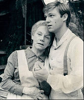 JOHN BOY COMFORTS GRANDMA ESTHER DURING ONE OF THEIR MANY CRISES ON THE WALTON'S TV SHOW.