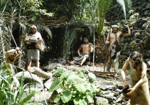 Guanche village scene