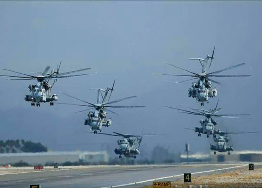 A bunch of choppers lifting off on a mission, Afghanistan