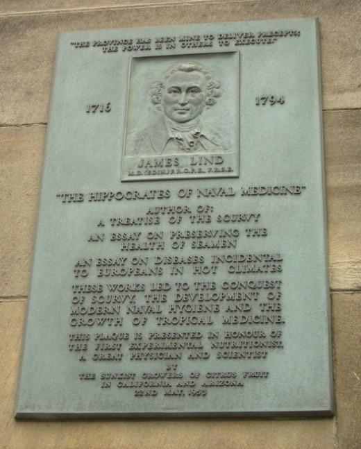Plaque of dedication to James Lind at  the former Medical School at Edinburgh University, Scotland