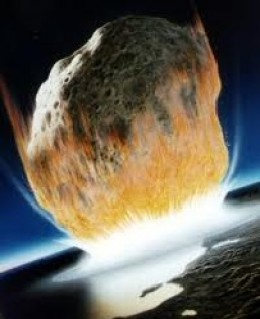 Asteroid collision at the end of the Cretaceous Period, leading to the extinction of the dinosaurs. Estimated destructive capacity of four times all the nuclear weapons currently on Earth.